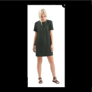 Topshop Dark Green Lace Up Tunic Casual Dress